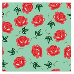Floral Roses Wallpaper Red Pattern Background Seamless Illustration Large Satin Scarf (Square)