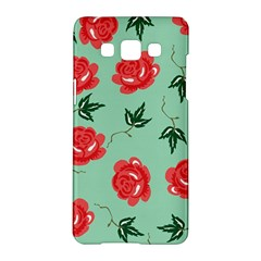 Floral Roses Wallpaper Red Pattern Background Seamless Illustration Samsung Galaxy A5 Hardshell Case