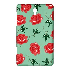 Floral Roses Wallpaper Red Pattern Background Seamless Illustration Samsung Galaxy Tab S (8 4 ) Hardshell Case