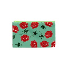 Floral Roses Wallpaper Red Pattern Background Seamless Illustration Cosmetic Bag (xs)
