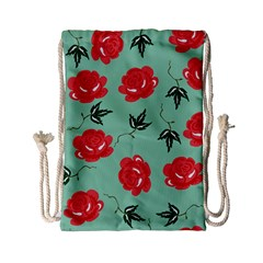 Floral Roses Wallpaper Red Pattern Background Seamless Illustration Drawstring Bag (small)