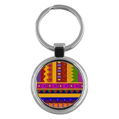 Abstract A Colorful Modern Illustration Key Chains (round)