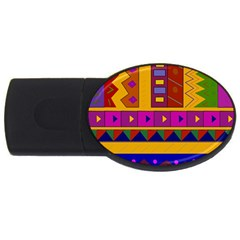Abstract A Colorful Modern Illustration Usb Flash Drive Oval (2 Gb)