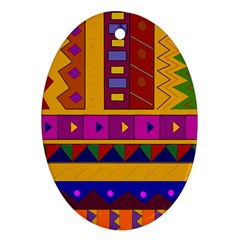 Abstract A Colorful Modern Illustration Oval Ornament (two Sides)