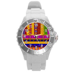 Abstract A Colorful Modern Illustration Round Plastic Sport Watch (L)