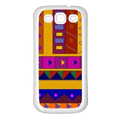 Abstract A Colorful Modern Illustration Samsung Galaxy S3 Back Case (White)