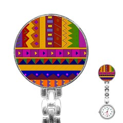 Abstract A Colorful Modern Illustration Stainless Steel Nurses Watch