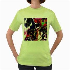Colourful Abstract Background Design Women s Green T Shirt