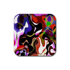Colourful Abstract Background Design Rubber Coaster (Square)