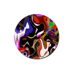 Colourful Abstract Background Design Rubber Round Coaster (4 pack)
