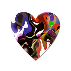 Colourful Abstract Background Design Heart Magnet