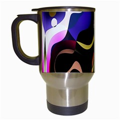 Colourful Abstract Background Design Travel Mugs (White)