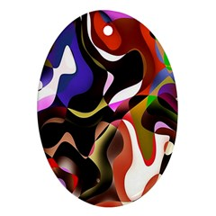 Colourful Abstract Background Design Oval Ornament (two Sides)