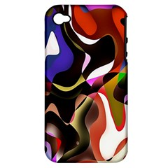 Colourful Abstract Background Design Apple iPhone 4/4S Hardshell Case (PC+Silicone)