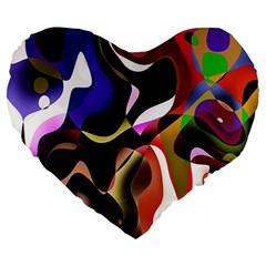 Colourful Abstract Background Design Large 19  Premium Heart Shape Cushions