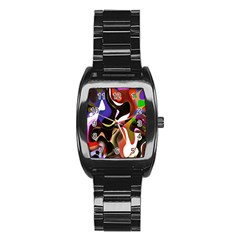 Colourful Abstract Background Design Stainless Steel Barrel Watch