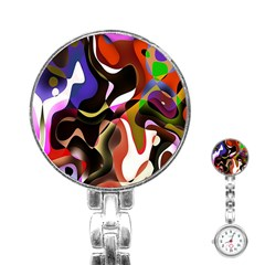 Colourful Abstract Background Design Stainless Steel Nurses Watch