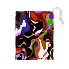 Colourful Abstract Background Design Drawstring Pouches (Large)