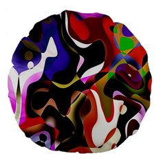 Colourful Abstract Background Design Large 18  Premium Flano Round Cushions