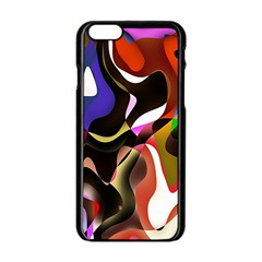 Colourful Abstract Background Design Apple iPhone 6/6S Black Enamel Case
