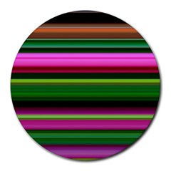 Multi Colored Stripes Background Wallpaper Round Mousepads