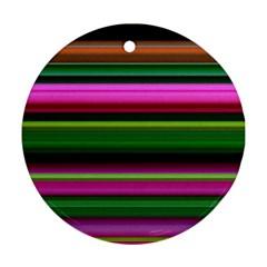 Multi Colored Stripes Background Wallpaper Ornament (Round)