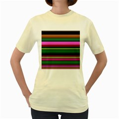 Multi Colored Stripes Background Wallpaper Women s Yellow T Shirt