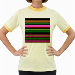 Multi Colored Stripes Background Wallpaper Women s Fitted Ringer T-Shirts
