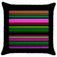 Multi Colored Stripes Background Wallpaper Throw Pillow Case (black)