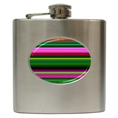 Multi Colored Stripes Background Wallpaper Hip Flask (6 Oz)