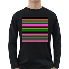 Multi Colored Stripes Background Wallpaper Long Sleeve Dark T Shirts