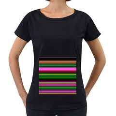 Multi Colored Stripes Background Wallpaper Women s Loose Fit T Shirt (black)