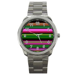 Multi Colored Stripes Background Wallpaper Sport Metal Watch