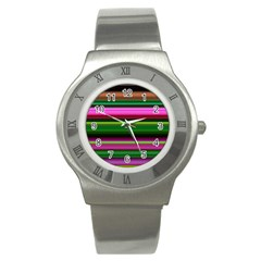 Multi Colored Stripes Background Wallpaper Stainless Steel Watch