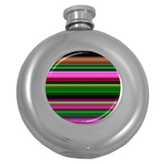 Multi Colored Stripes Background Wallpaper Round Hip Flask (5 Oz)