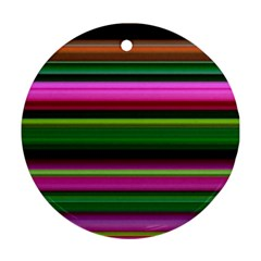 Multi Colored Stripes Background Wallpaper Round Ornament (two Sides)