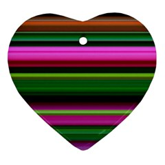 Multi Colored Stripes Background Wallpaper Heart Ornament (two Sides)