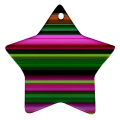 Multi Colored Stripes Background Wallpaper Star Ornament (two Sides)