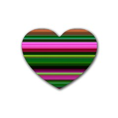 Multi Colored Stripes Background Wallpaper Heart Coaster (4 Pack)
