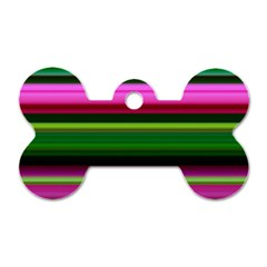 Multi Colored Stripes Background Wallpaper Dog Tag Bone (two Sides)