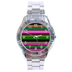Multi Colored Stripes Background Wallpaper Stainless Steel Analogue Watch