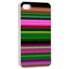 Multi Colored Stripes Background Wallpaper Apple iPhone 4/4s Seamless Case (White)