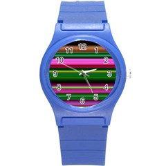 Multi Colored Stripes Background Wallpaper Round Plastic Sport Watch (S)
