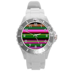 Multi Colored Stripes Background Wallpaper Round Plastic Sport Watch (l)