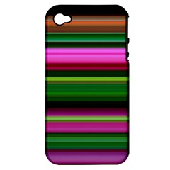 Multi Colored Stripes Background Wallpaper Apple iPhone 4/4S Hardshell Case (PC+Silicone)