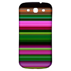 Multi Colored Stripes Background Wallpaper Samsung Galaxy S3 S III Classic Hardshell Back Case