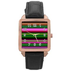 Multi Colored Stripes Background Wallpaper Rose Gold Leather Watch