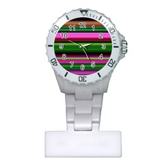 Multi Colored Stripes Background Wallpaper Plastic Nurses Watch