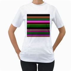 Multi Colored Stripes Background Wallpaper Women s T-Shirt (White)