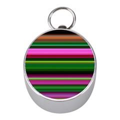 Multi Colored Stripes Background Wallpaper Mini Silver Compasses